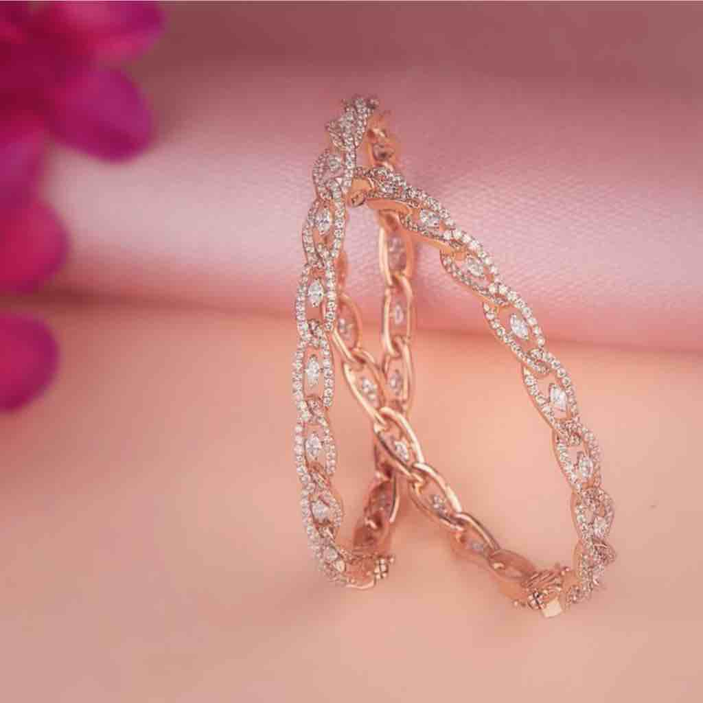 18KT Fancy Rose Gold Diamond Bangle