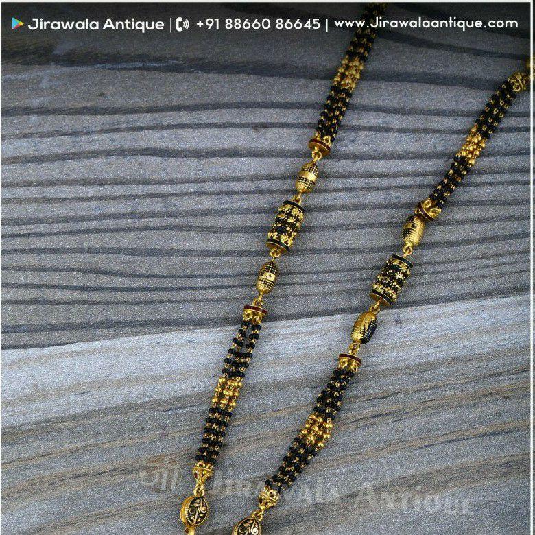 Antique Jadtar 916 Mangalsutra With Round 4 Line Black Beats Lines