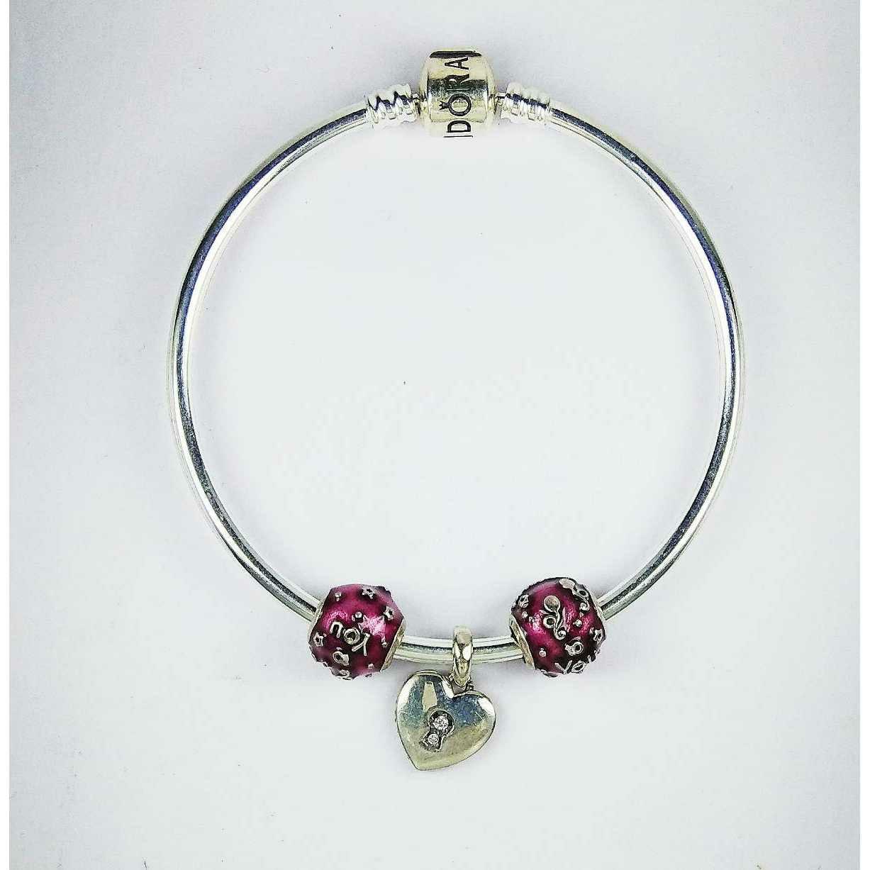 Fancy 925 Silver Ladies Kada Bracelet With Heart Shape