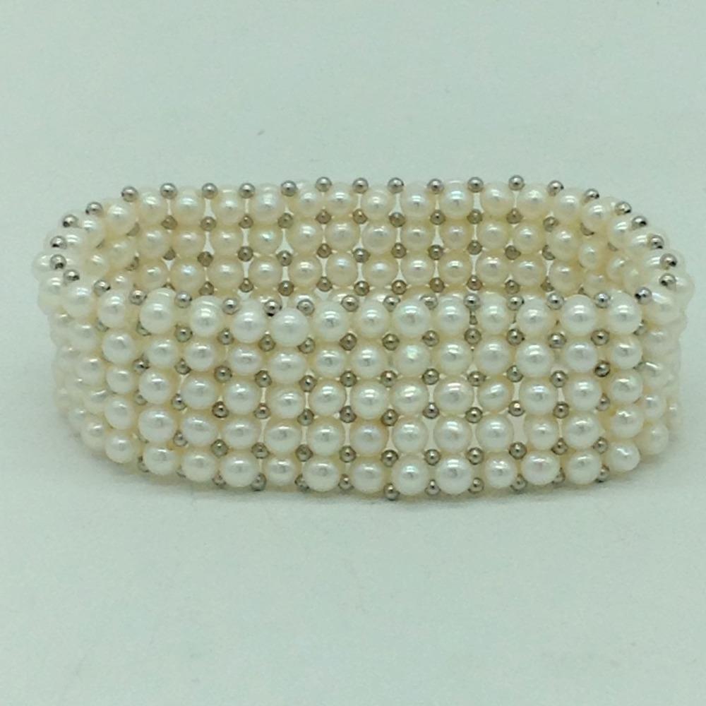 ButtonPearls & WhiteJaco Balls 5Layers Elastic BraceletJBG0313