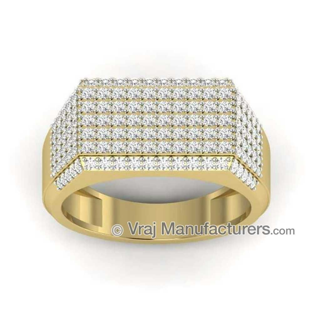 916 Gold Diamond CZ Gents Engagement Ring