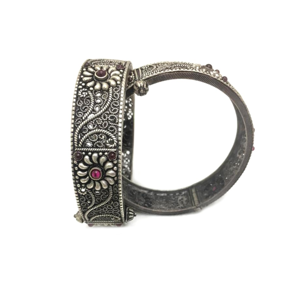 925 Silver Antique Floral Design Kada Bangle