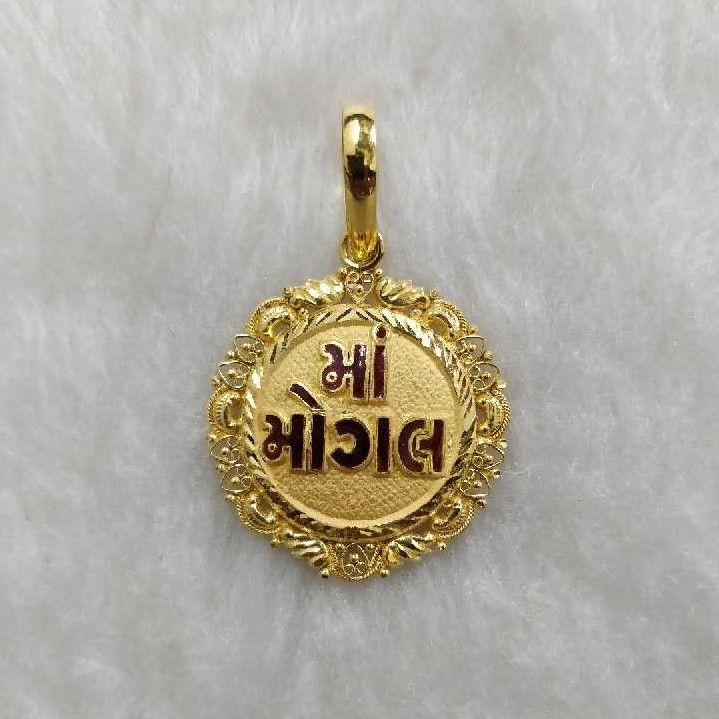 916 Gold Mogal Maa Round Pendant