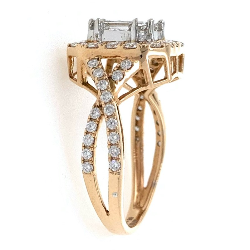 18kt / 750 rose gold solitaire look wedding diamond ring 8lr294