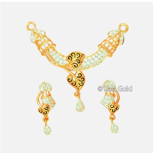 916 Gold Fancy Diamond Heart Shaped CZ Pendant Set