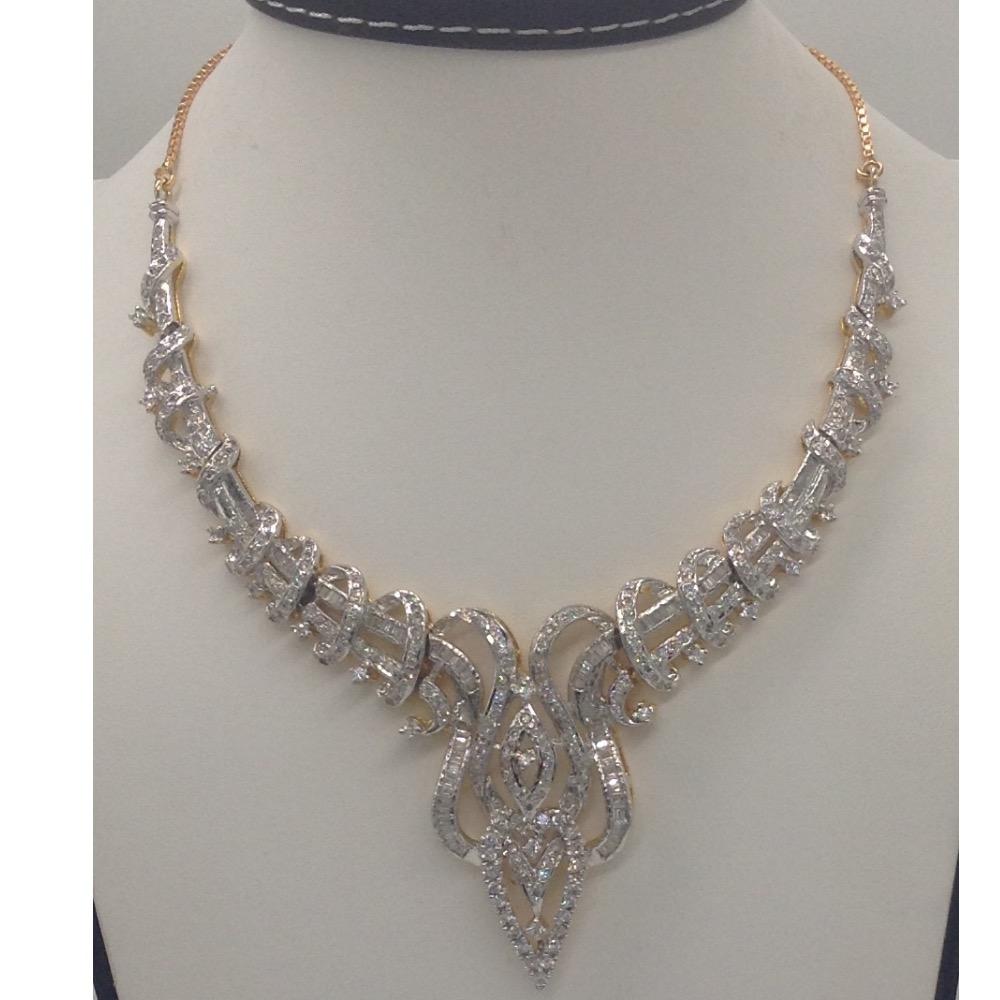 White cz stones necklace set jnc0060