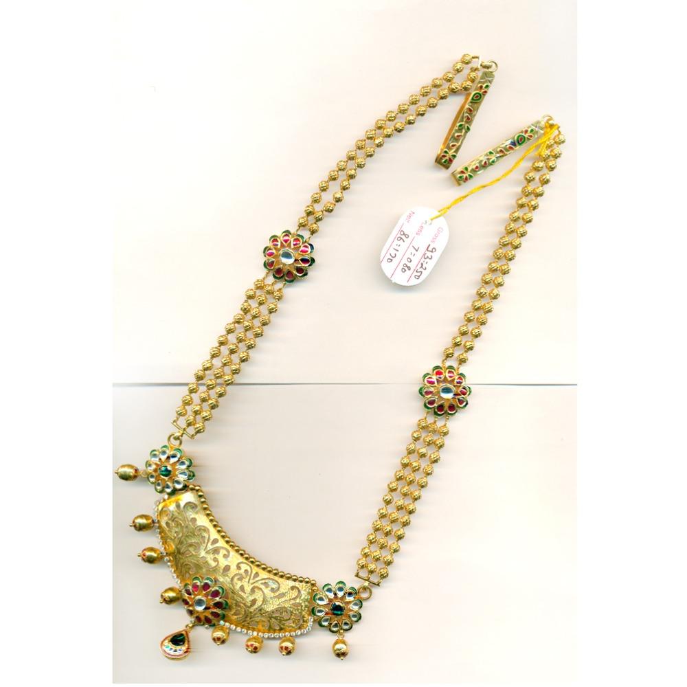 916 Gold Antique Wedding Long Necklace Set-21