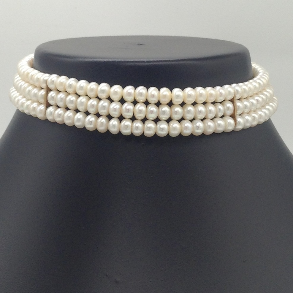 Freshwater Cream Flat Pearls 3 Layers Choker JPM0360