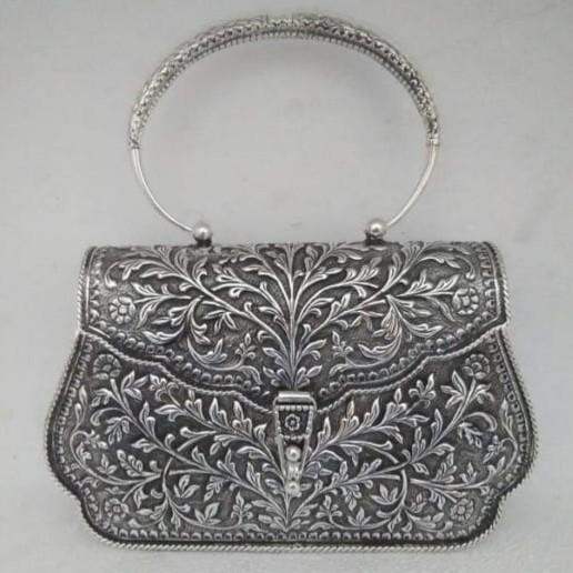 92.5 Sterling silver Designer Full Oxidised Purse For Women