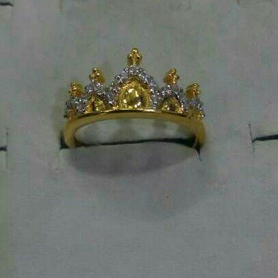 22K / 916 Gold CZ Designer Crown Ring
