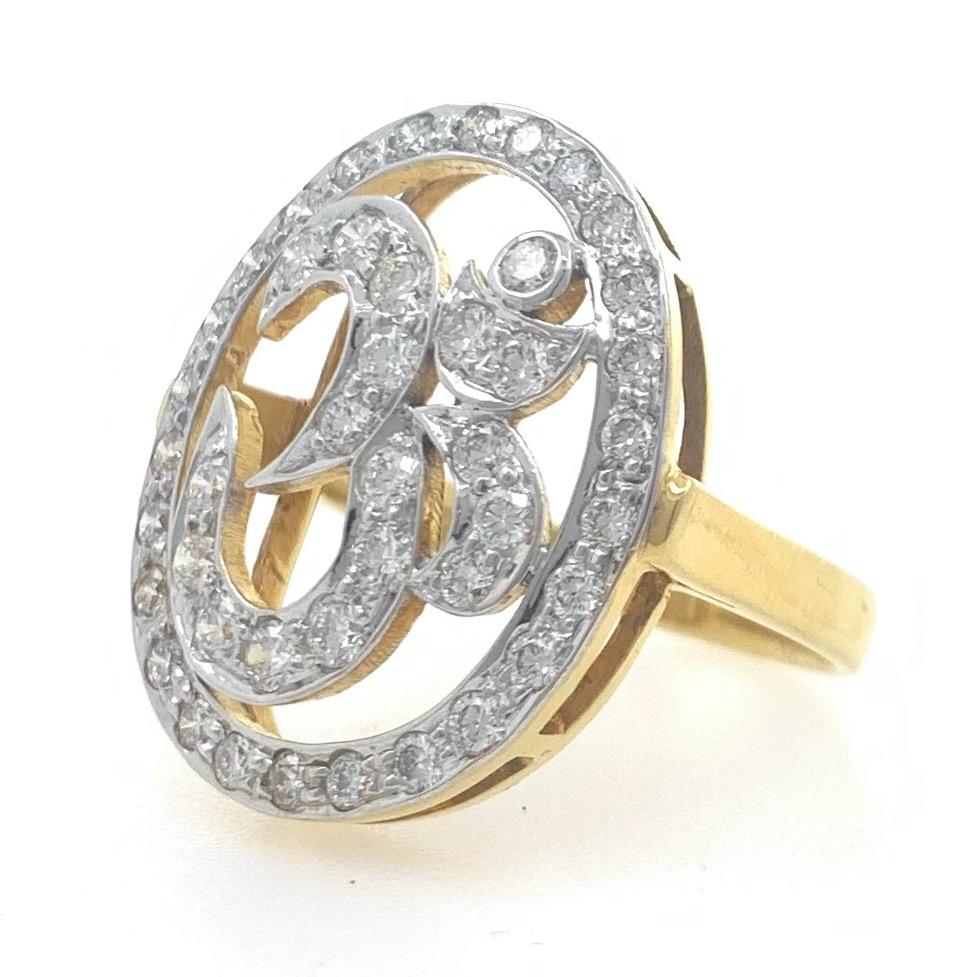 18kt / 750 yellow gold religious om diamond ring for women 7lr91