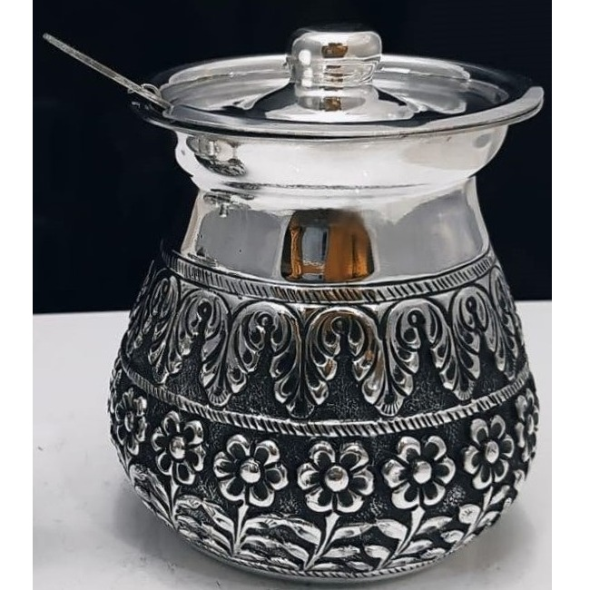 925 pure silver stylish ghee dani with spoon and lid pO-244-05