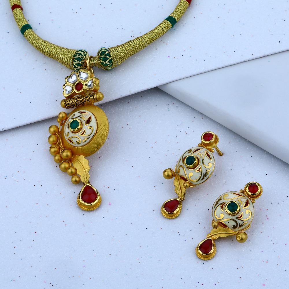 916 gold simple design Necklace Set