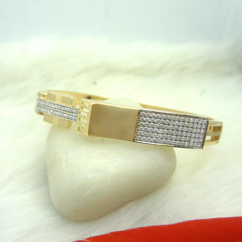 916 GOLD CZ DIAMOND GENTS KADA