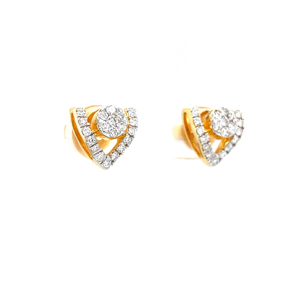 Pressure set with v shape line stud in premium quality diamonds