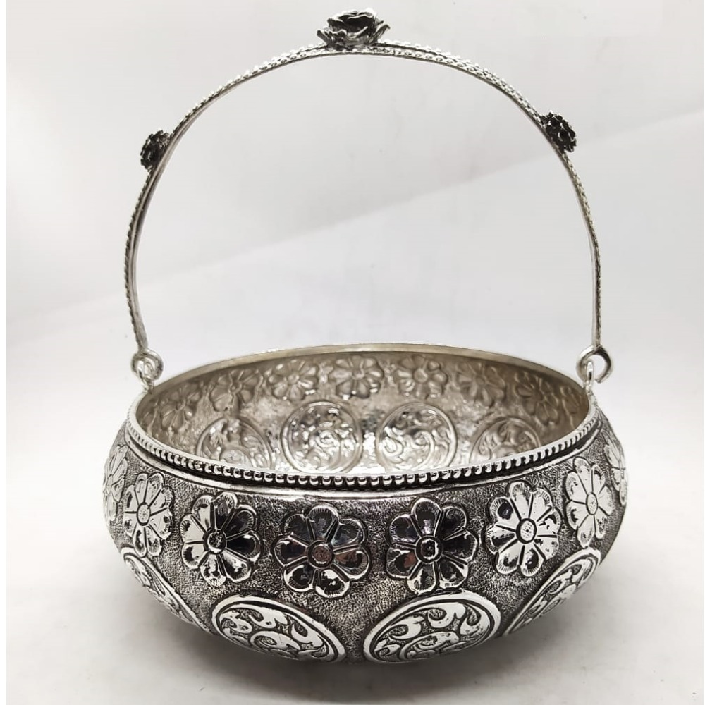 floral basket in fine antique carving by puran.