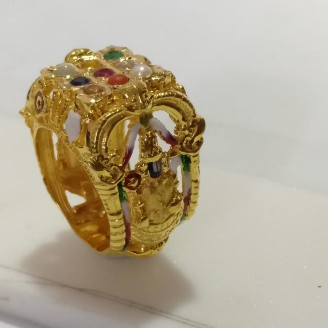 22kt 916 Navaratan 9 Gemstones ring with God Balaji