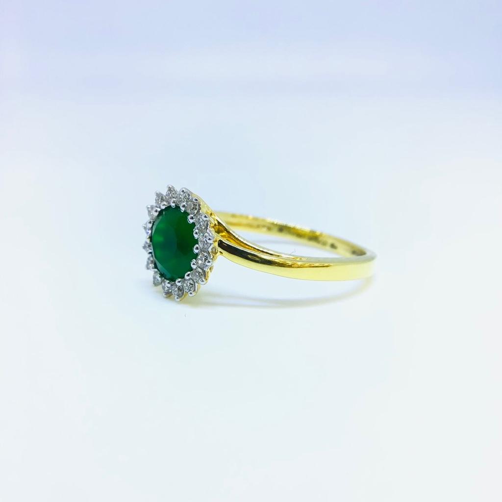 DESIGNING FANCY REAL DIAMOND GREEN STONE RING