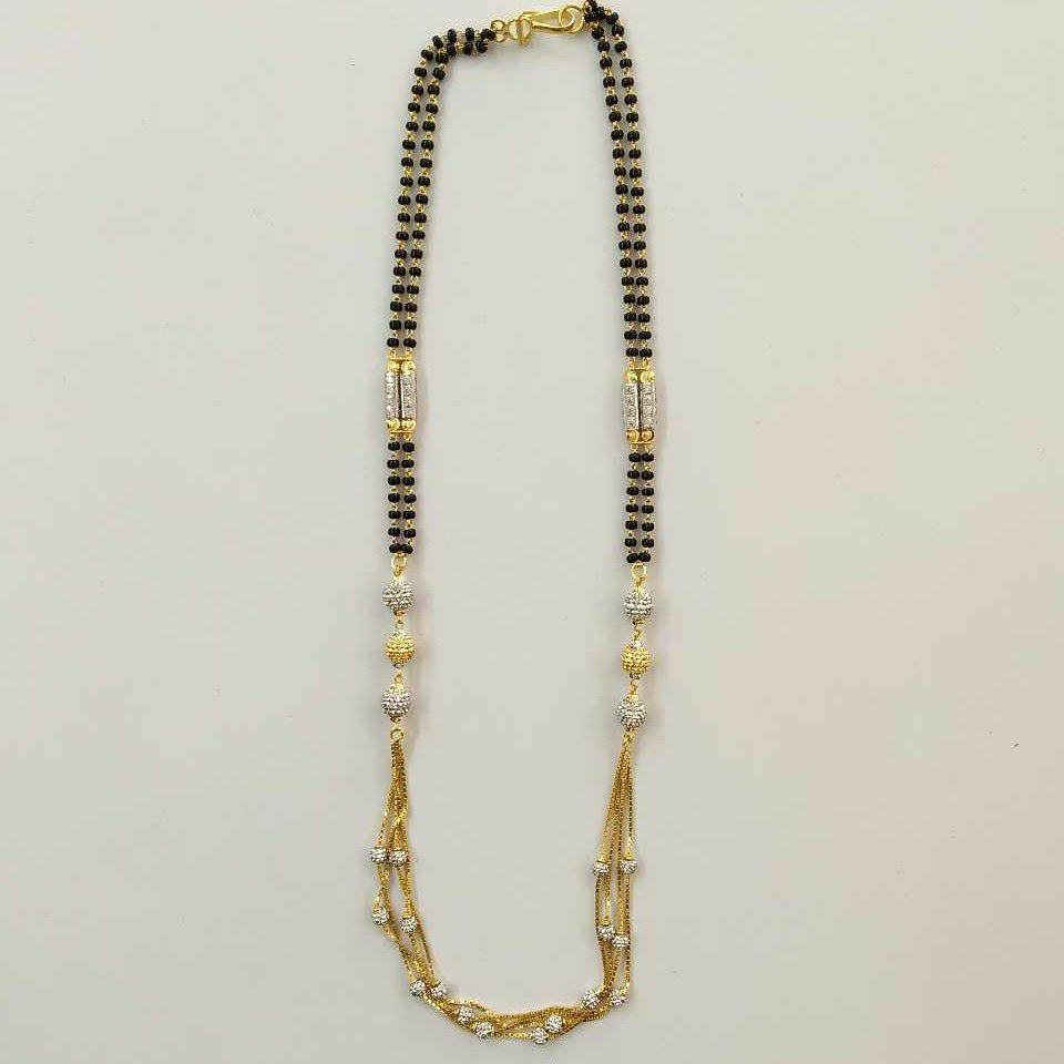 22k Gold Fancy Chain Double Mangalsutra DVJ-022