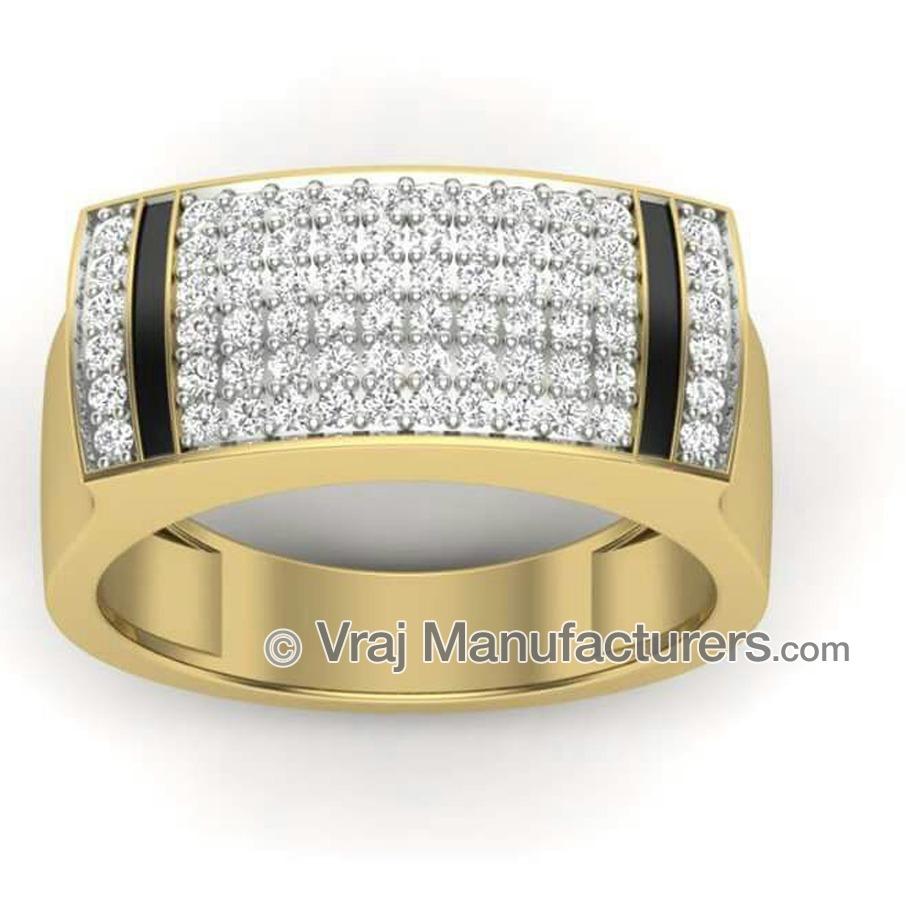 18K Yellow Gold Casting Fancy Diamond Ring For Men
