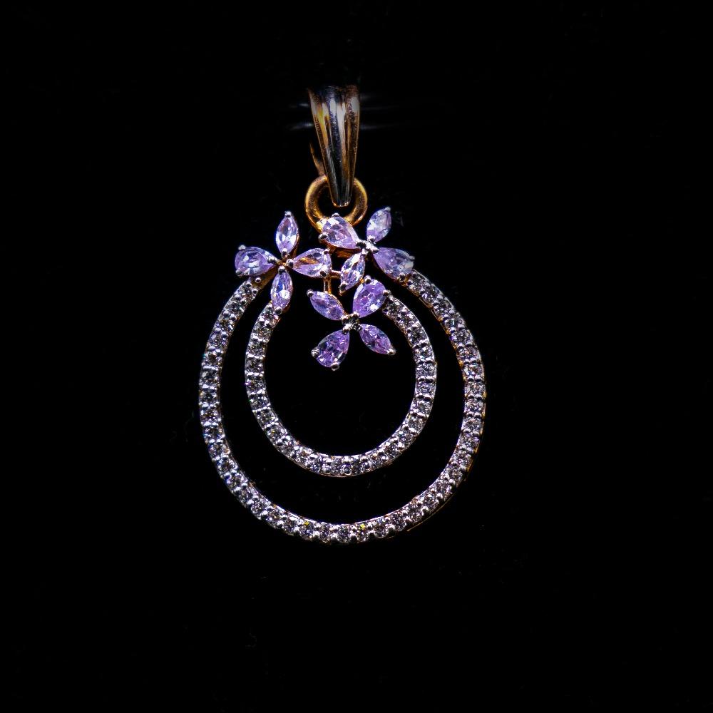 18k gold diamond flower design pendant set agj-ps-175
