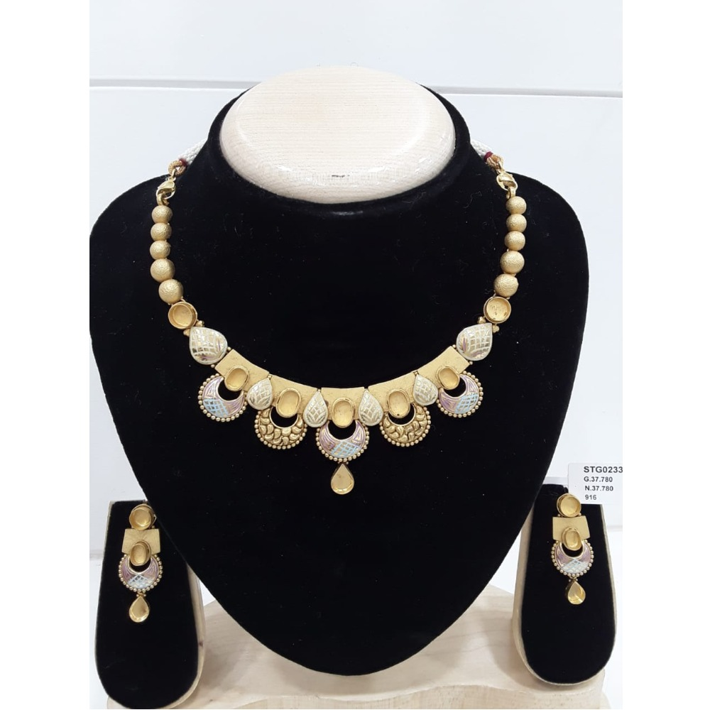 22KT Gold Polki Necklace Set Khokha VJ-N010