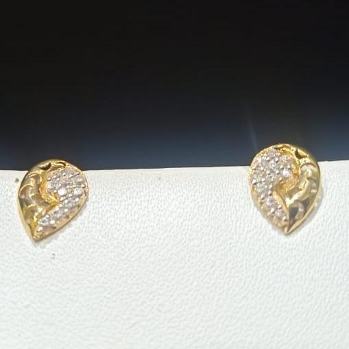 18CT Gold Hallmark Leaves Small Design Earring