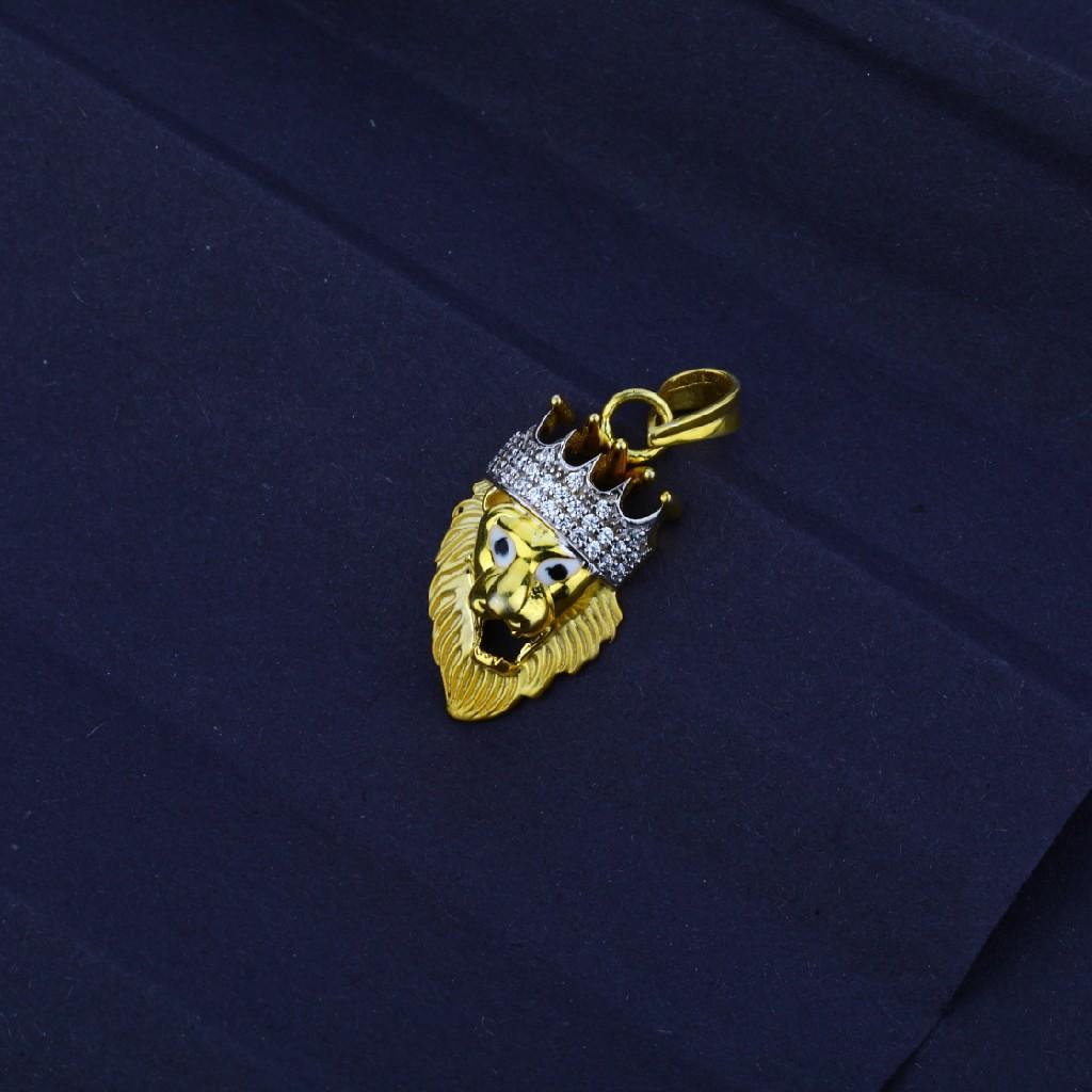 Men's Exclusive 916 Fancy Lion Crown  Gold Pendant- MFP07