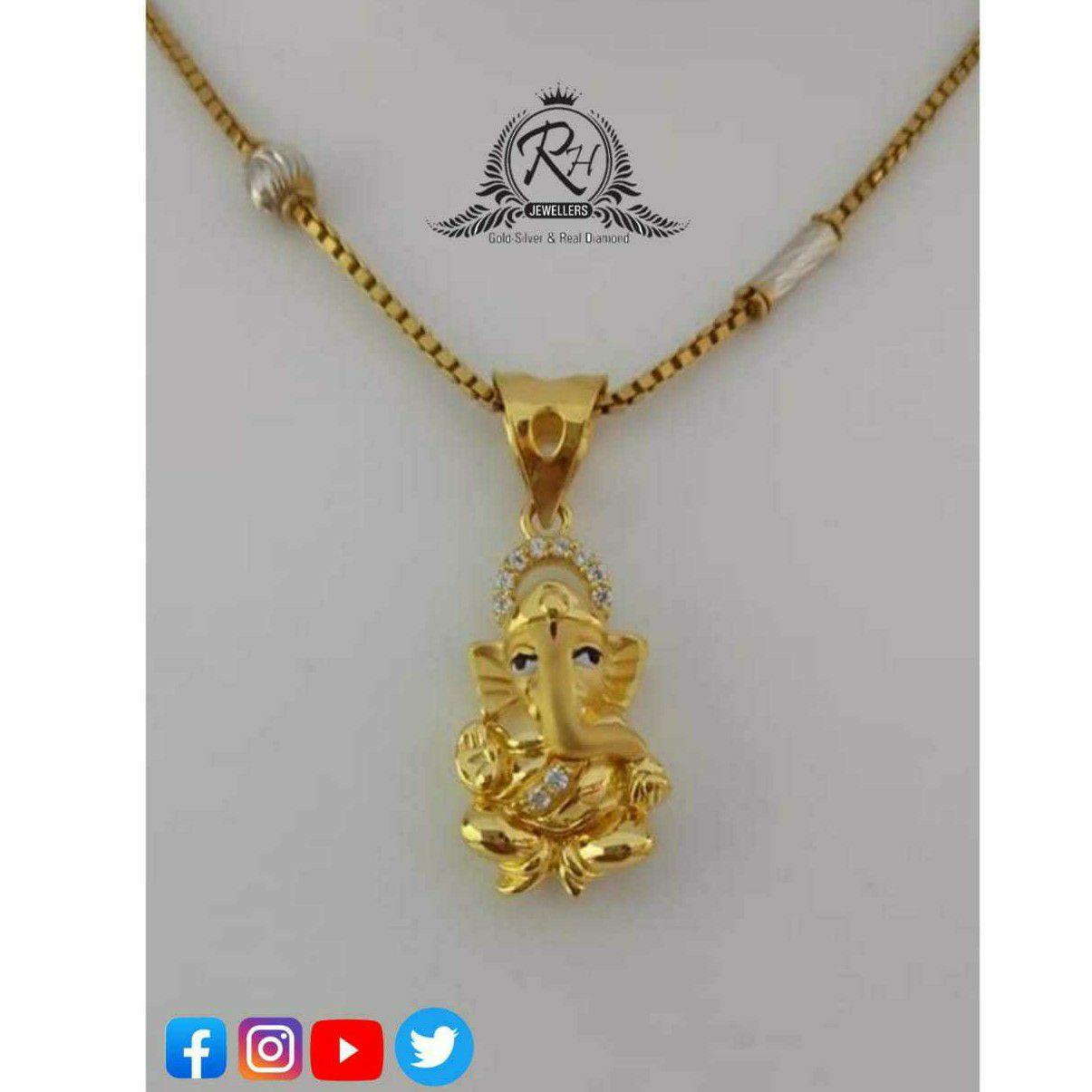 22 Carat Gold Ganpati Pendants RH-GP484