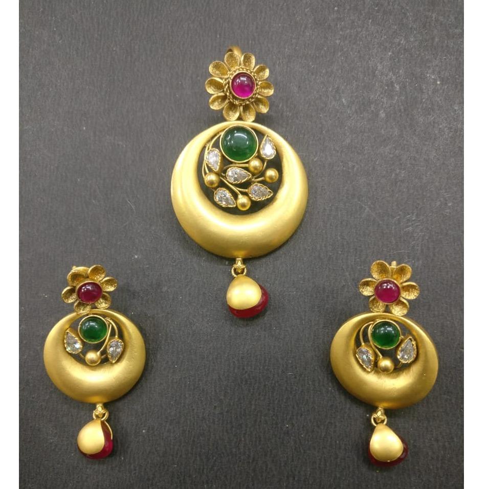 916 gold antique bridal pendant set kg-n008