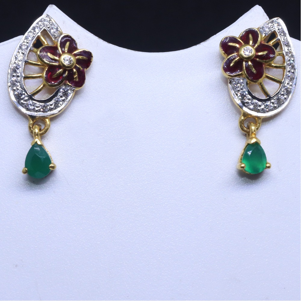 22KT / 916 Gold Flower Shape Fancy CZ Earring for ladies BTG0117