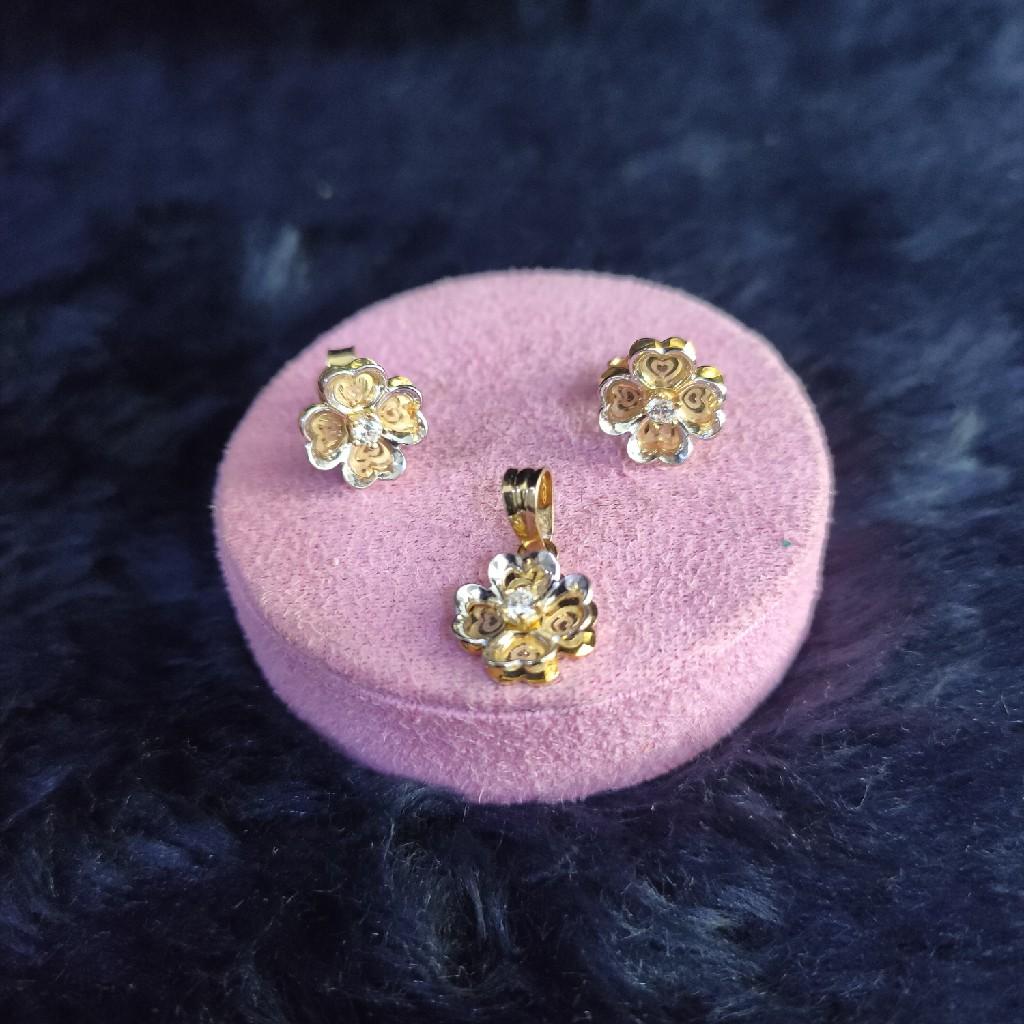 18KT/750 ROSE GOLD FLOWER PENDENT BUTTI SET GPBS-98