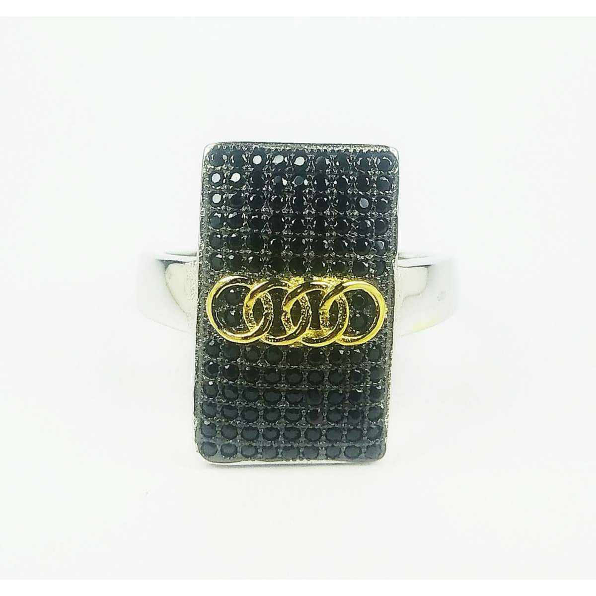 Fancy 925 silver gents ring with black stones audi