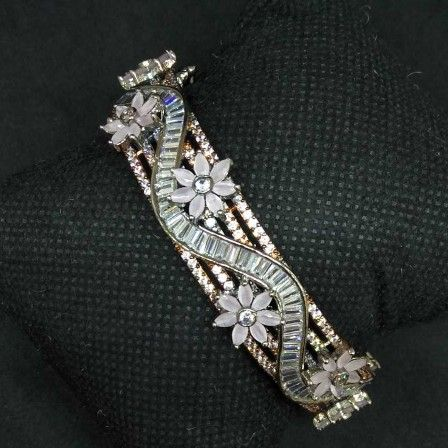 Pink diamond designed 1gram ladies bracelet