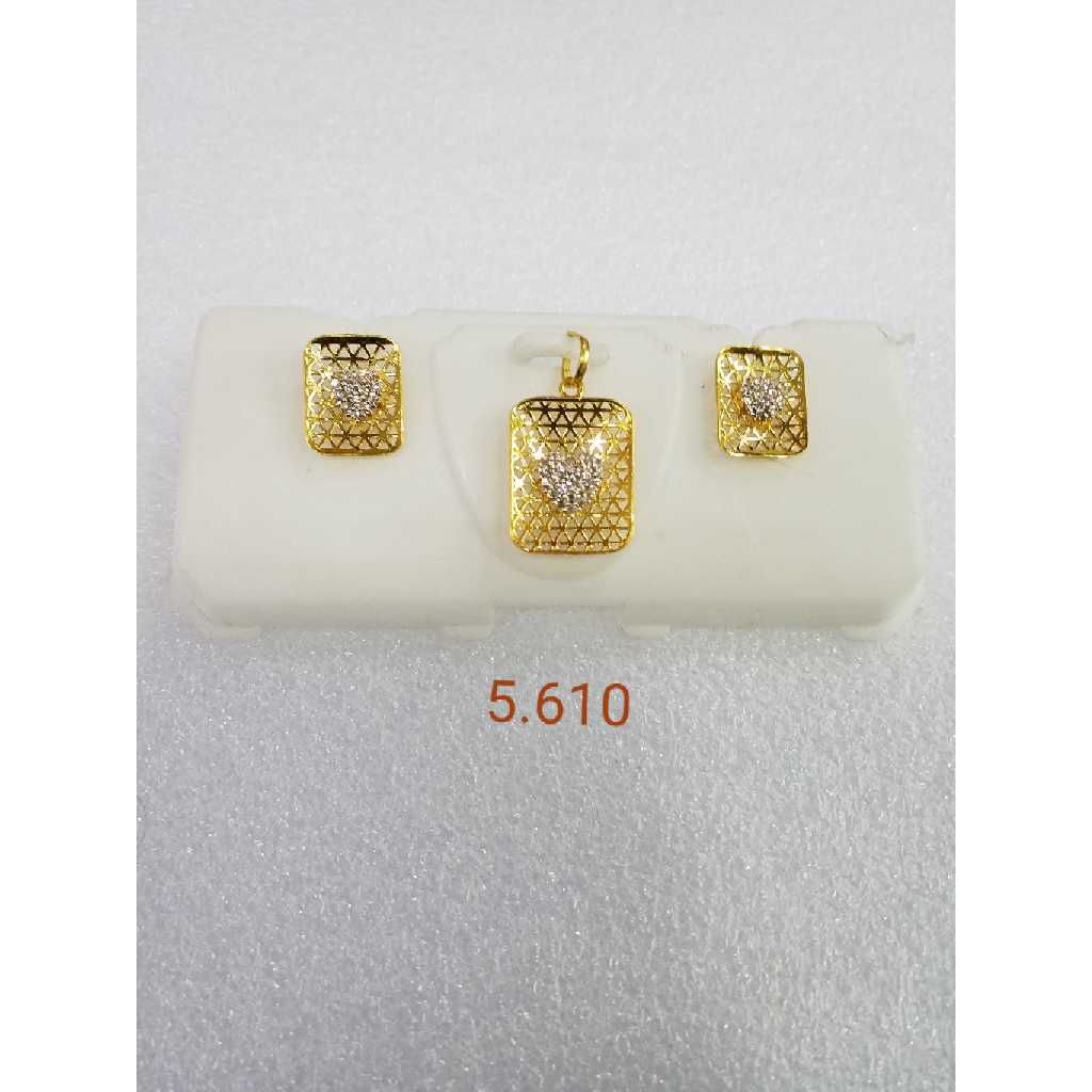 22KT gold jali pendant set NG-P001