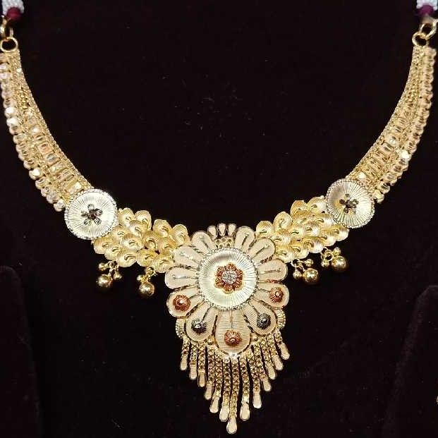 916 Gold Fancy Colorful Stone Necklace Set