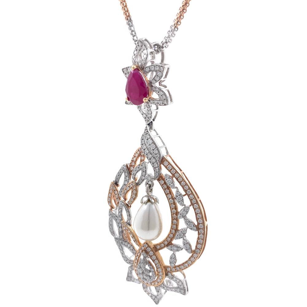 Bonita Diamond Pendant with Red Stone & Pear 7SHP9