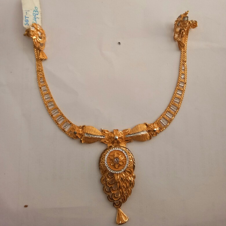 916 Gold hallmark Necklace set LO8132