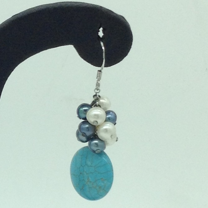 Pearl Turquoise SilverEar HangingsJER0149