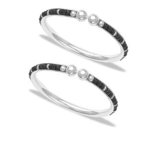Silver 925 sterlimg black beaded silver kada for baby rj-s9b02