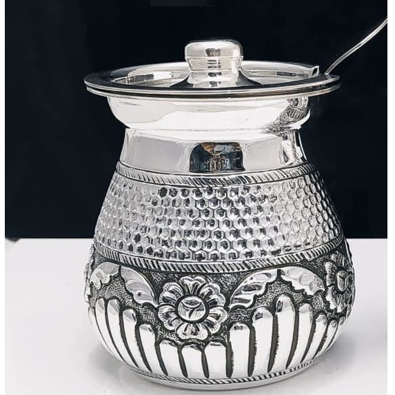 925 pure silver Stylish ghee dani with Spoon and Lid pO-244-03