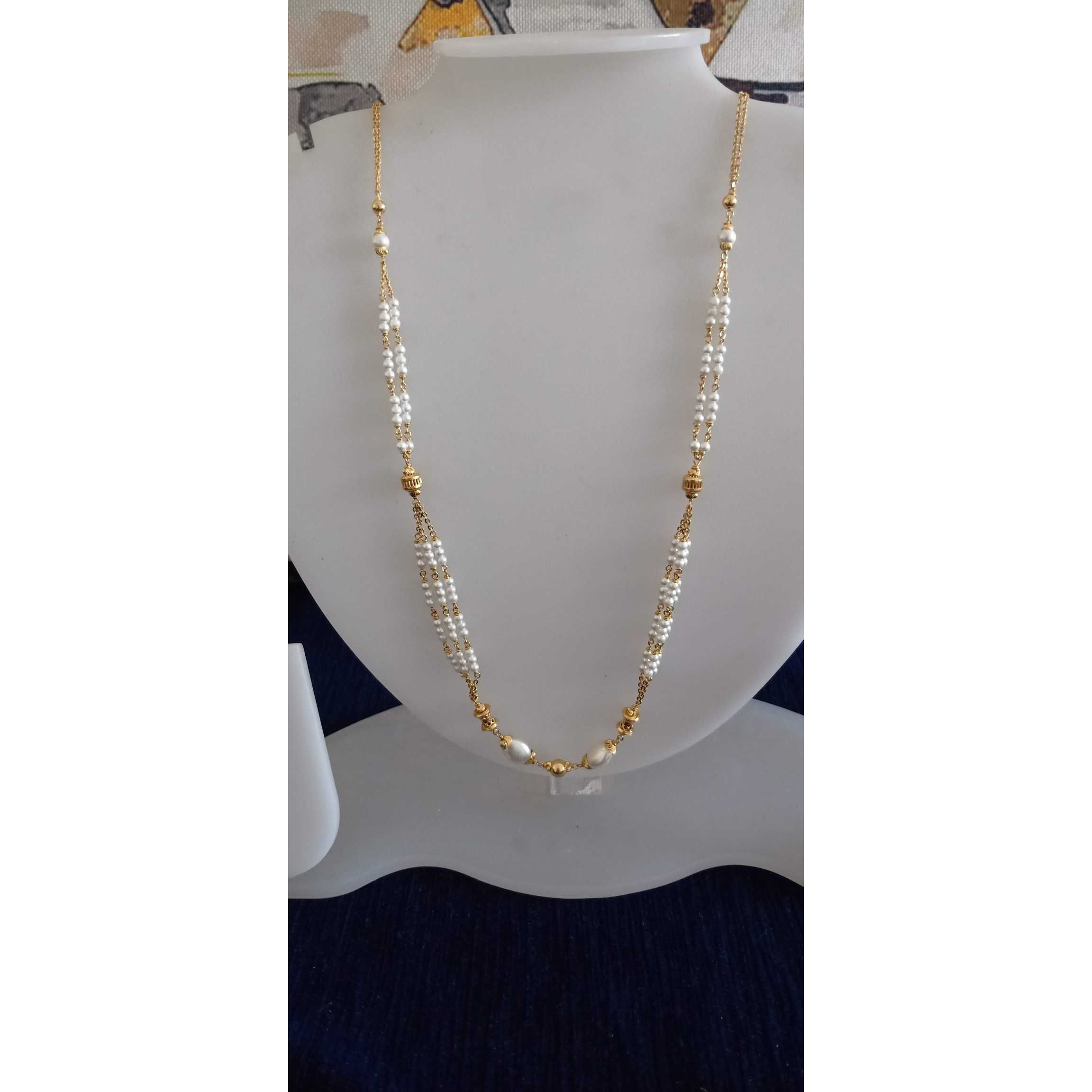 22 Ct Gold Delicate White Pearl Mala