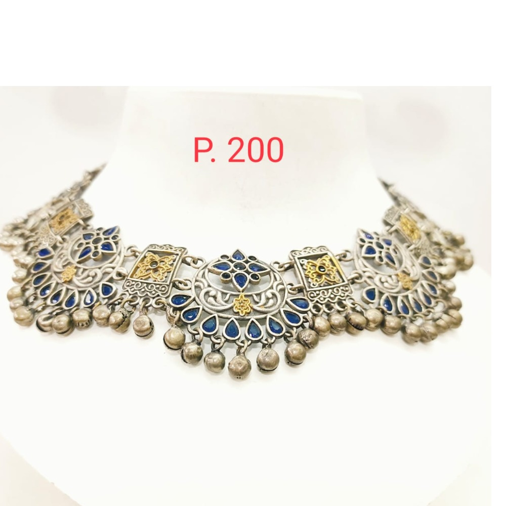Traditional oxidised silver with Blue stone Choker Necklace set 1672