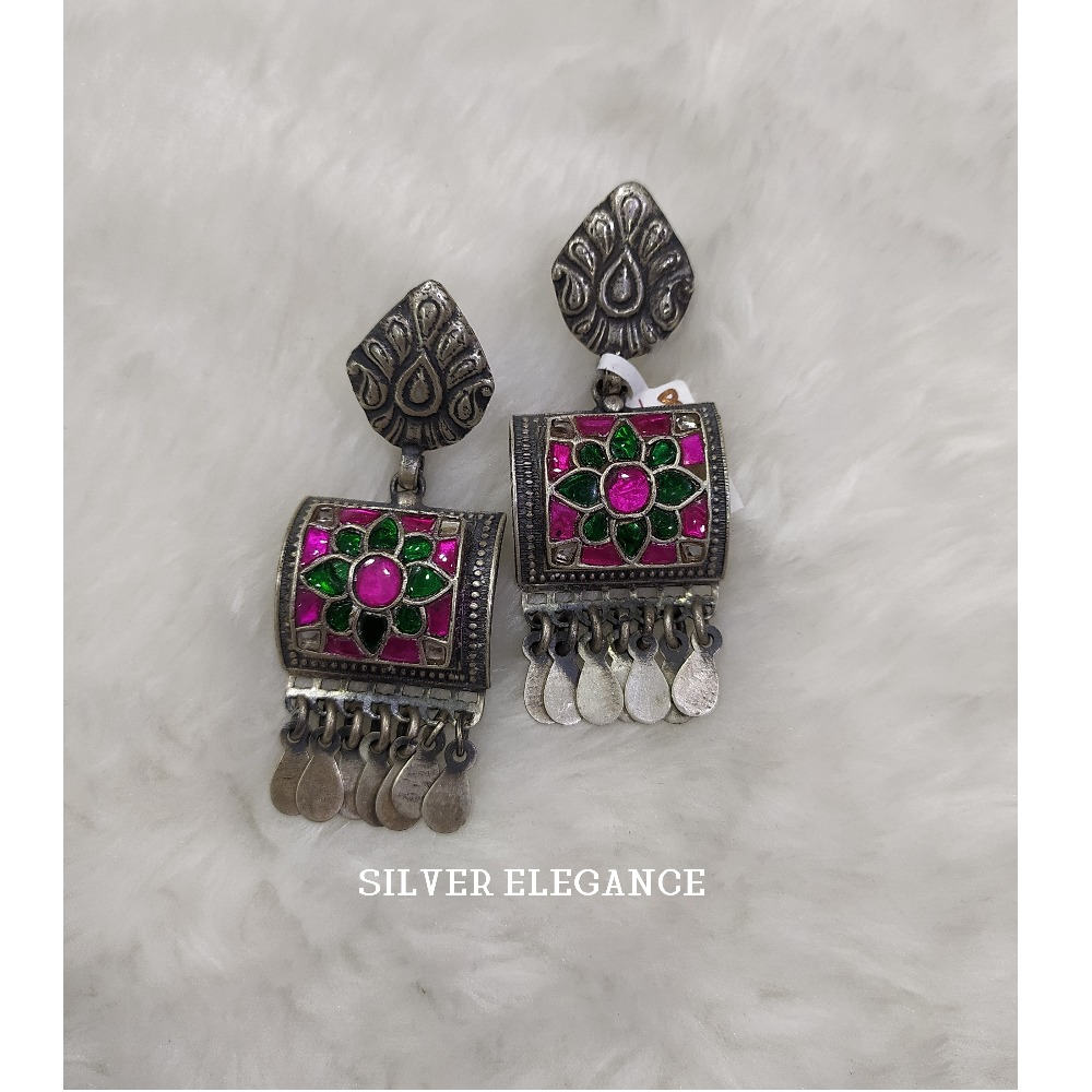 Silver modern meenakari earring se-e009