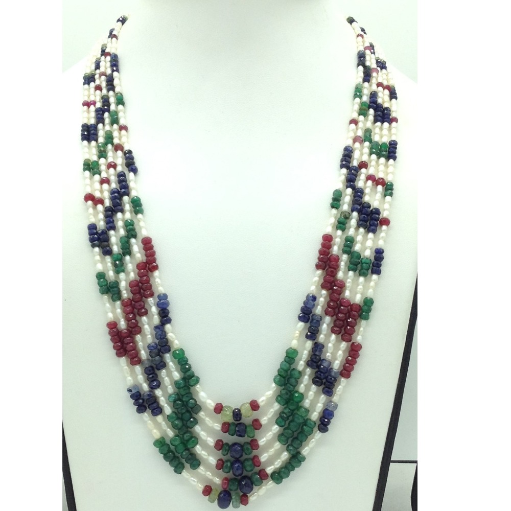 White RicePearls with Multicolour Stones 6Layers Necklace JPM0429