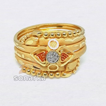 22k Fancy Gold Ring Hollow Triple Pipe Design for Ladies