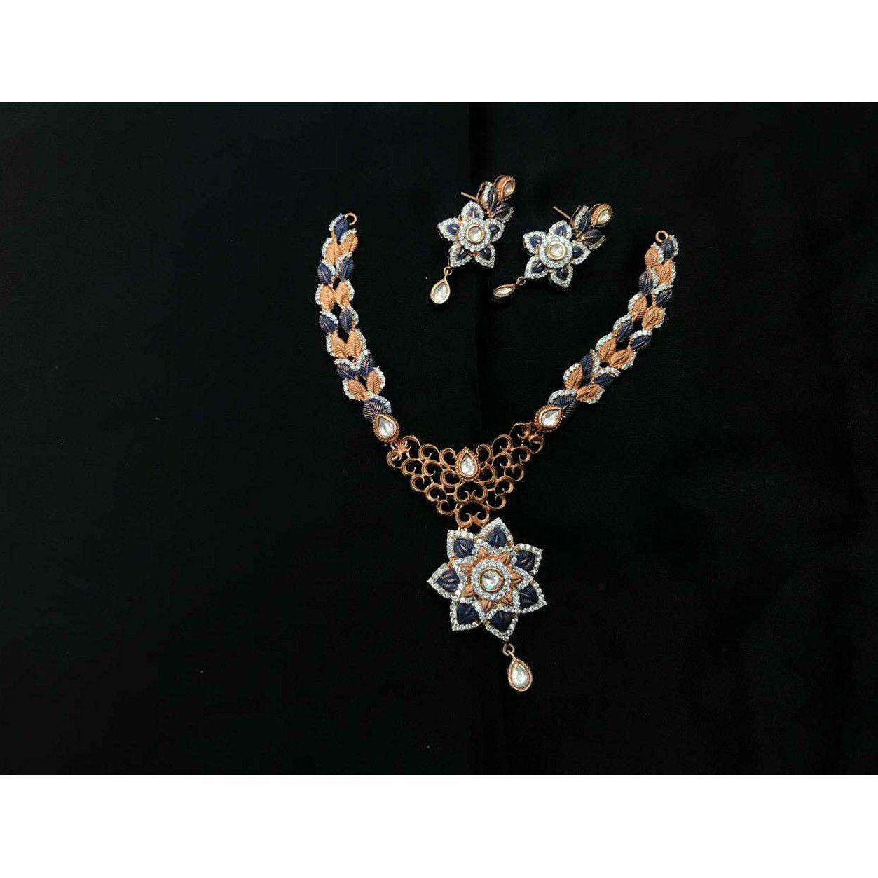 92.5 Sterling Silver Antique Dezine Necklace Set Ms-3933