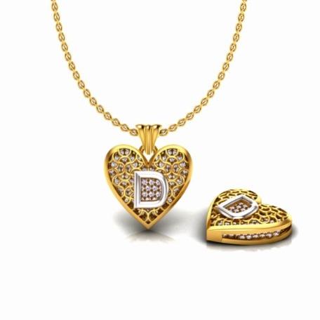 22KT Gold CZ Heart Shape D Alphabet Pendant Chain SO-P007