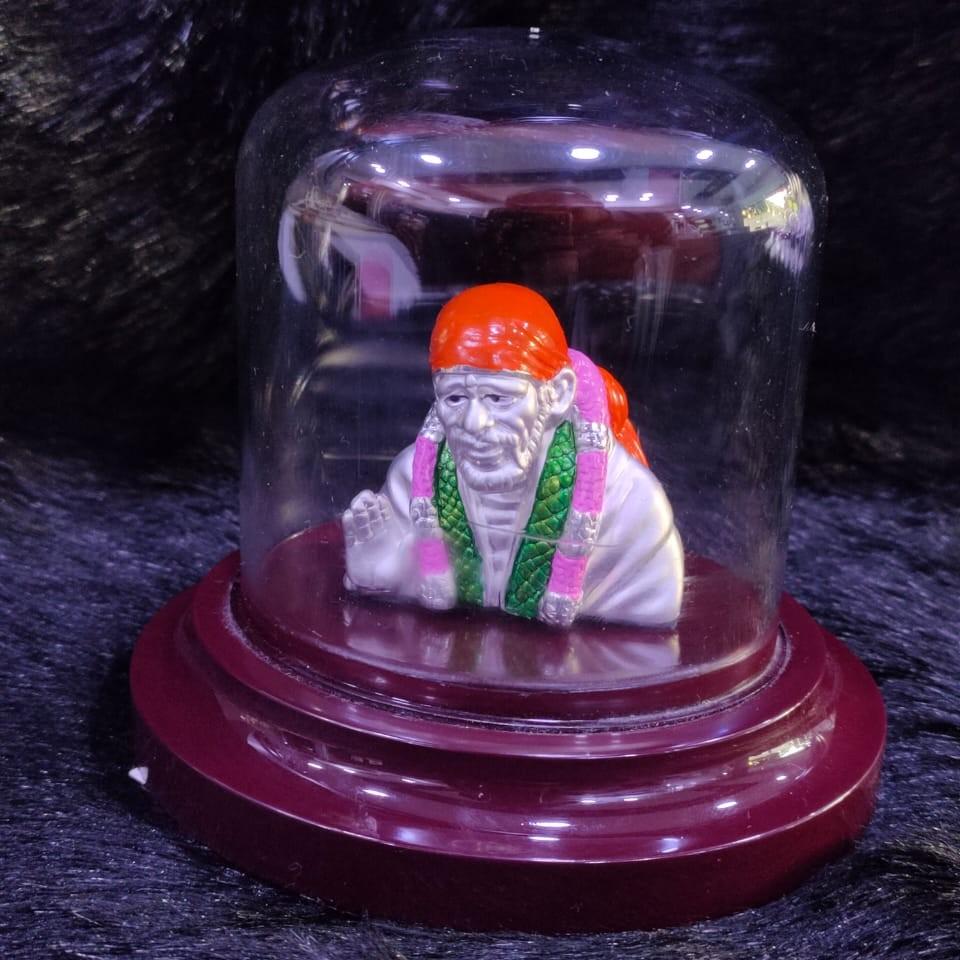92.5 Sterling Silver Shirdi Sai Baba Statue with Beautiful Meenakari