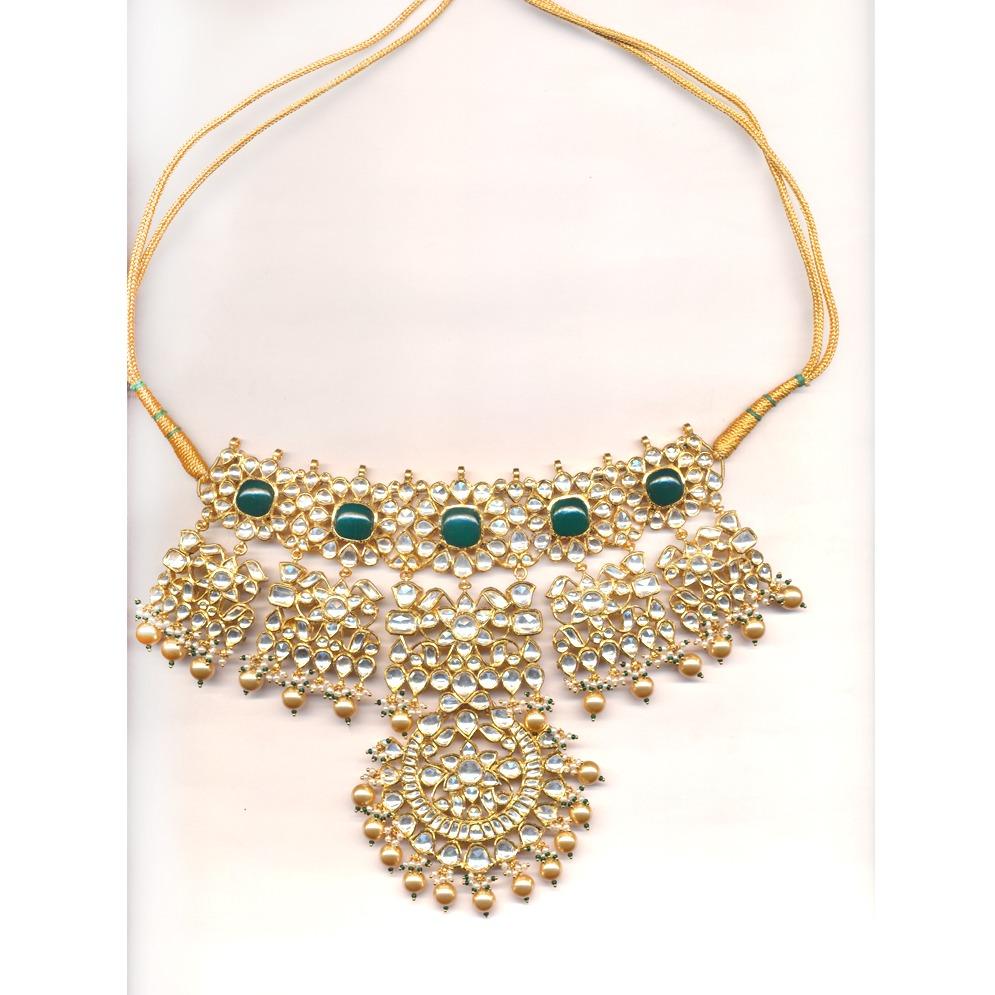 916 Gold Kundan Necklace Set OM - N027